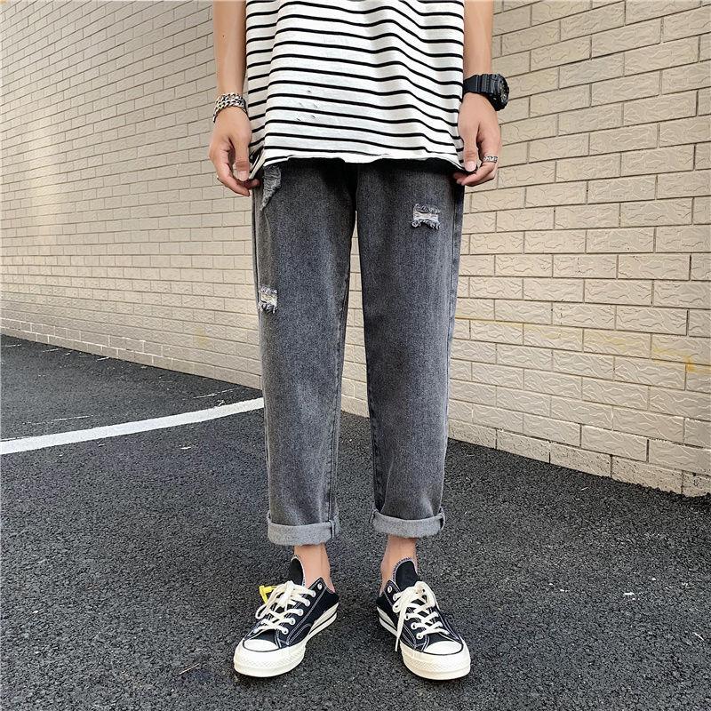 Прямые джинсы Мужская мода Омывается Повседневный ретро рваные джинсы Брюки Мужчины Streetwear Сыпучие Hip Hop Hole Denim Брюки мужские S-3XL