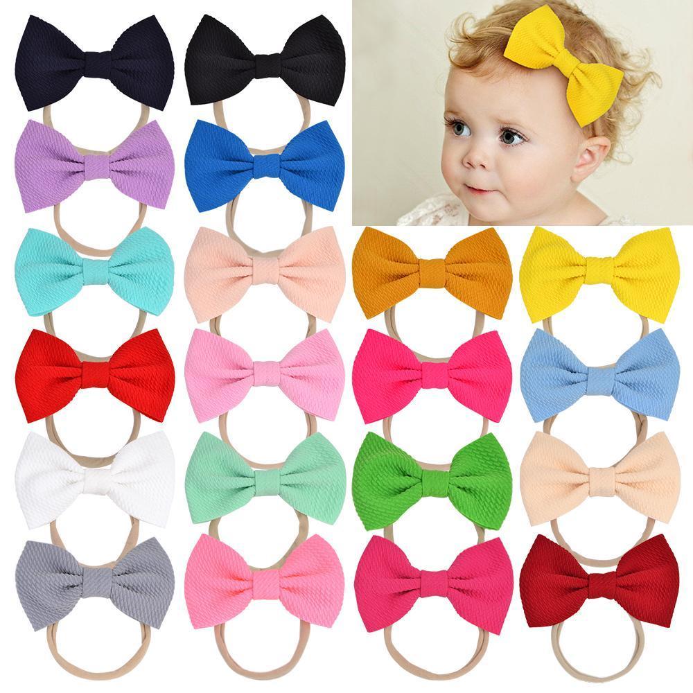 20pcs 4.5 Zoll Süßigkeit-Farben-Nylon-Stirnband Big-Bogen-Haar-Band-Elastics für Kleinkinder Kleinkinder Neugeborene Baby-Haar-Zusätze