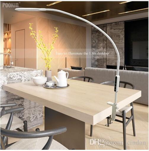 Bras Long Lampe de table Clip Bureau DEL Lampe de bureau Télécommande Eye-protégé Lampe