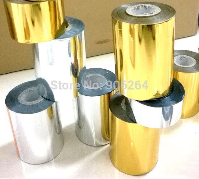 Atacado-2 Rolls (ouro e slilver) Folha de Hot Stamping Papel de Transferência de Calor Papel Dourado Anodizado com Taxa de Custo de Envio