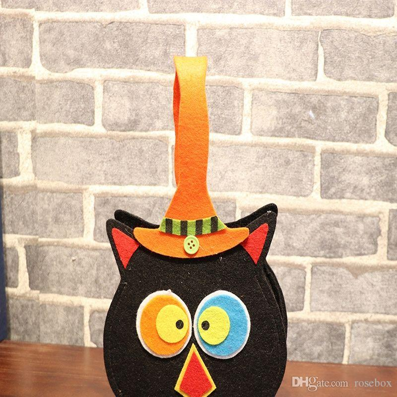 Halloween Pumpkin Felt Fabric Handbag 12 Designs Vampire Gift Bags Circular Candy Bags Square Gift Bag Party Props 120 Pieces DHL