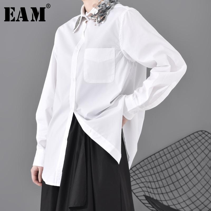 [EAM] Women White Sequins Split Temperament Bluce New Lapel Long Sleeve Fight Shirt Fashion Tide Spring 2020 1N21100