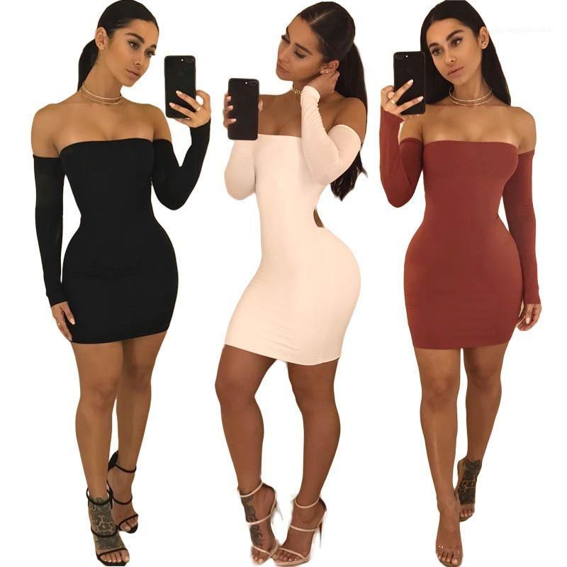 Longueur du genou sexy Encolure Robe mode Couleur unie Femmes Robe Femmes Designer Robes moulantes Robes Slim