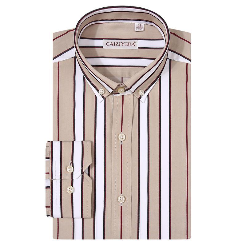 Men manga comprida Casual listrado Modal algodão camisa confortável padrão-ajuste Colar tecla para baixo de fácil manutenção Shirts