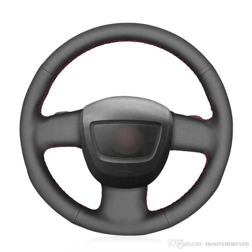MEWANT Black Artificial Leather Car Steering Wheel Cover for Audi A3 (8P) Sportback A4 (B7) Avant A6 (C6) S4 Seat Exeo 2009-2012