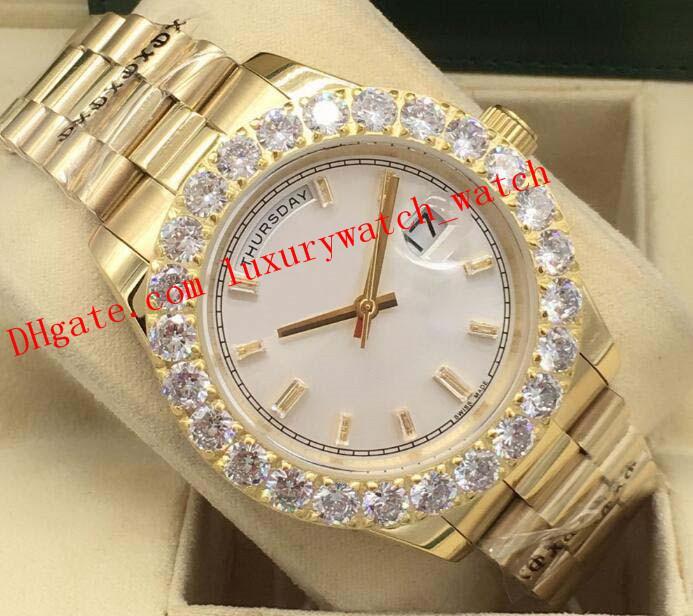 ساعات أحدث نسخة فاخرة 18kt الذهب الفضة GOLD أكبر DIAMOND الحافة 228348 آسيا 2813 التلقائي أزياء الرجال ووتش ساعة اليد
