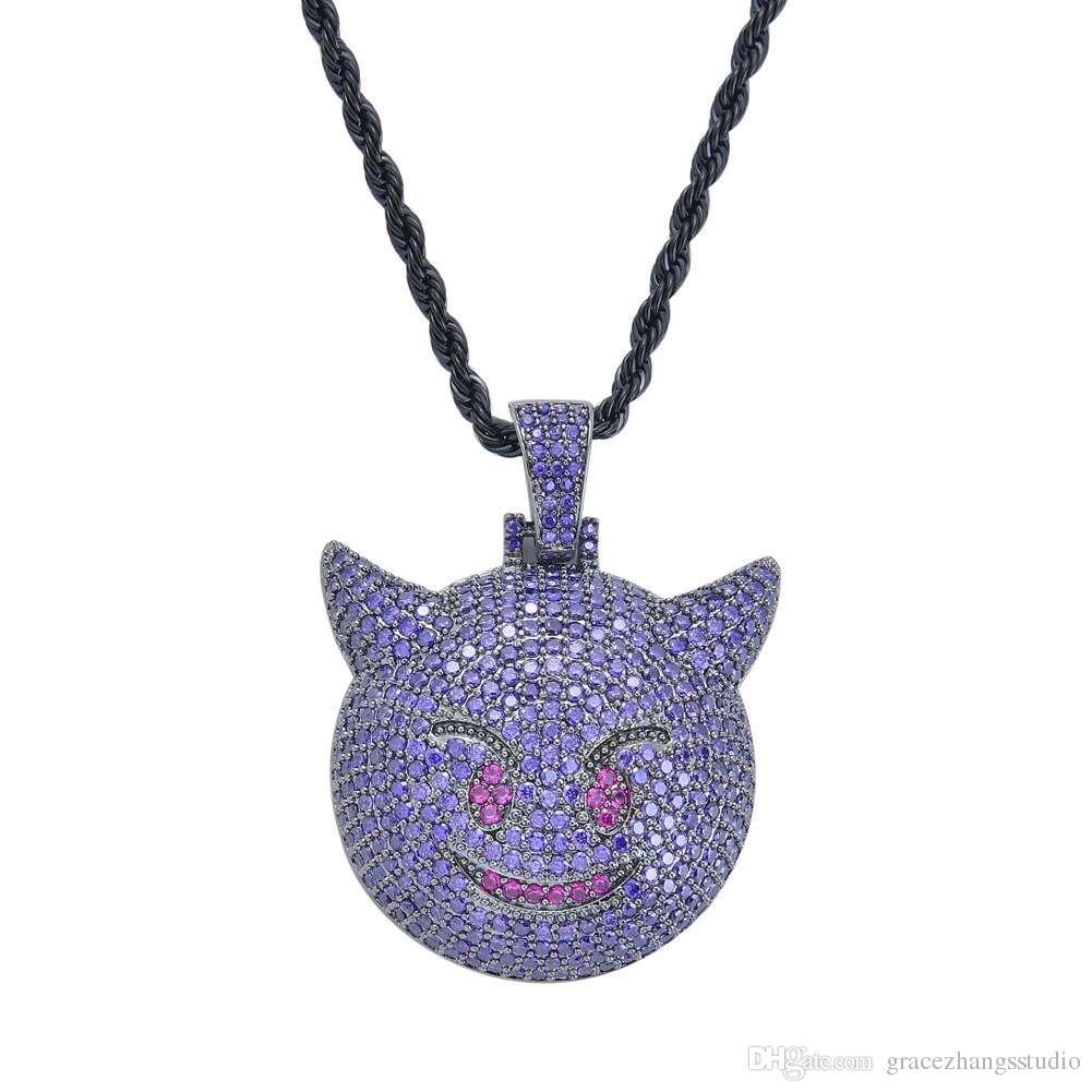 hip hop petit diable emoji pendentif colliers pour hommes western vente chaude diamants collier de cuivre zircon véritable plaqué or bijoux de luxe