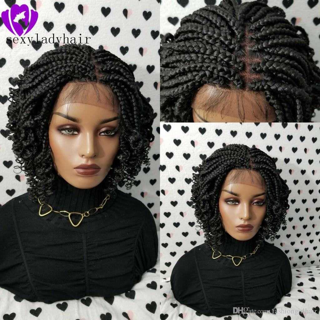 Africa american women braids style handmade full Box Braid wig black /brown/ombre color short Braided Lace Front Wig With Curly Ends