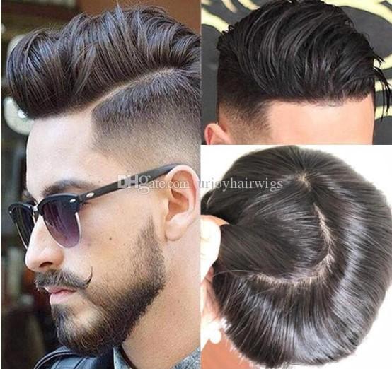 Männer Haarperücken Herren Haarteile Gerade volle Seide Basis Toupee Full Seide Top Toupee 10A Europäische jungfrau Menschenhaar Ersatz Perücke für Männer