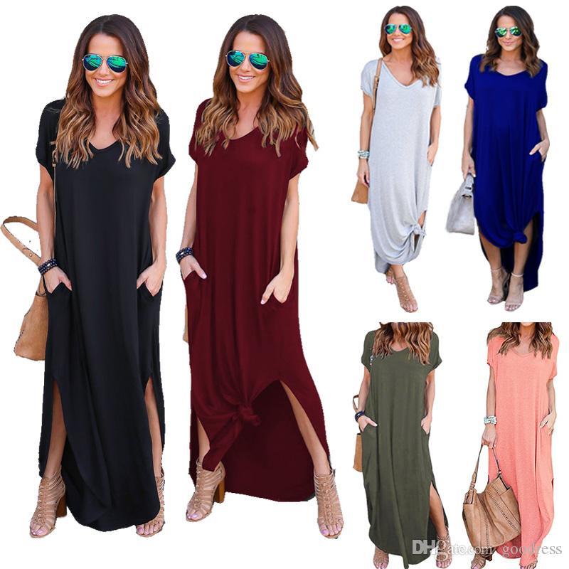 Women Casual V Neck Short Sleeve Pockets Split Long Maxi Dress Beach Sundress US