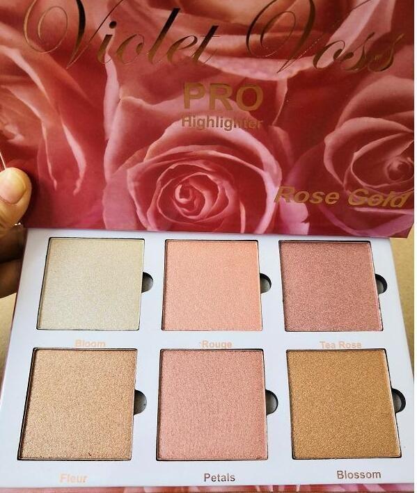 Os mais recentes Violet Voss PRO Marcador ouro rosa paleta cara Bronzeadores Highlighters 6 cor do brilho frete grátis