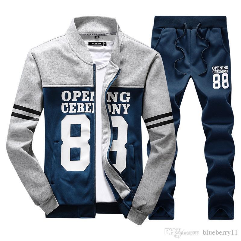 Homens Outono Treino Treino Homens ternos do esporte dos homens da forma fatos de jogging inverno frio Sweatpants Hoodies Mens Clothing M-4XL 2020