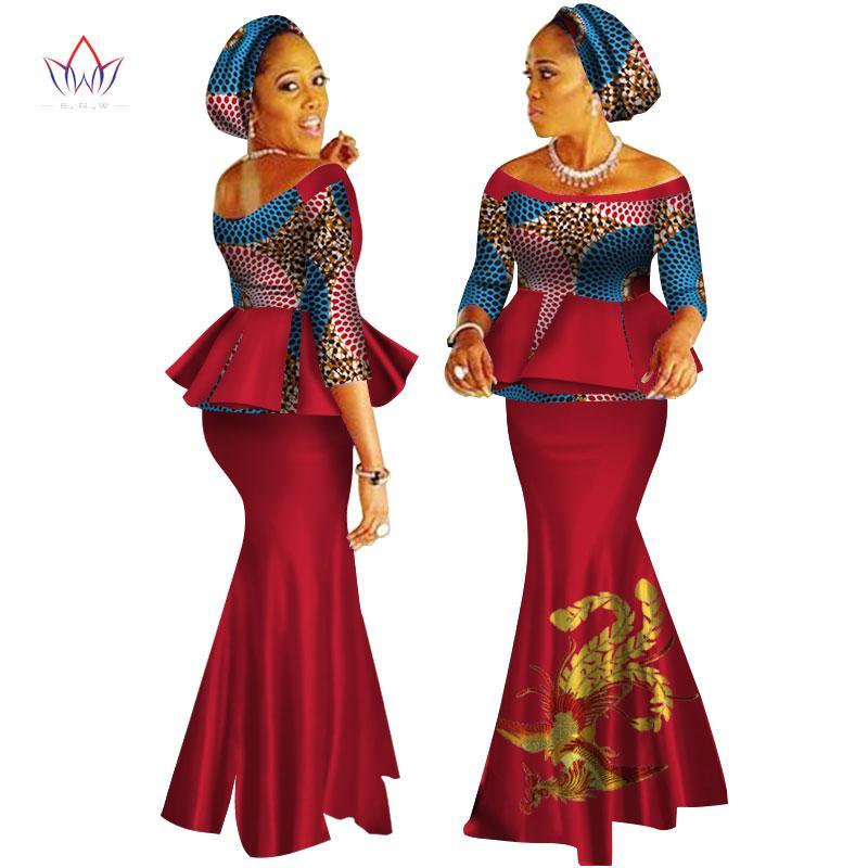 Dashiki africano vestido da cópia Cortar TopsSkirt Set Feito à Mão Alças meia manga Africano Mulheres Roupa saia longa Set WY2626