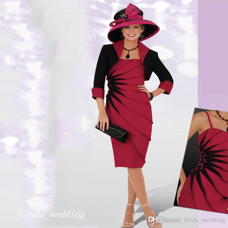 2019 Zarif Koyu Kırmızı Siyah Anne Ceket Ile Gelin Damat Elbise Örgün Düğün Akşam elbise Artı Boyutu vestido de madrinha