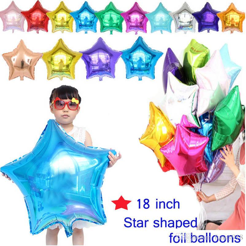 18 inch Large Pentagram Aluminum Balloons For Children Birthday Party Supplies Wedding Decoration Party Foil Balloons speedy delivery