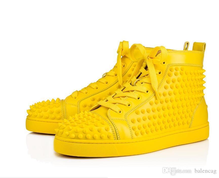 Дизайнер Марк Черного шипованных Шипы Квартира обувь Red Bottoms обувь роскошь женщины люди партия Lovers натуральной кожа Кроссовки размера 36-46