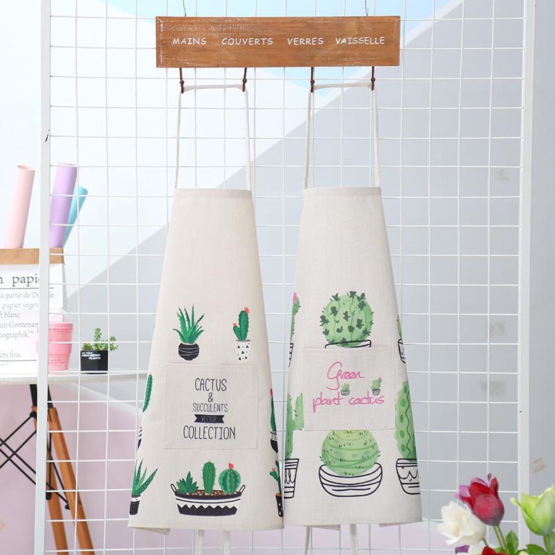 Les nouveaux adultes de cactus tablier mignon pour la cuisine tabliers de cuisine pour femme unisexe coton pur travail de café sans manches Uniforme