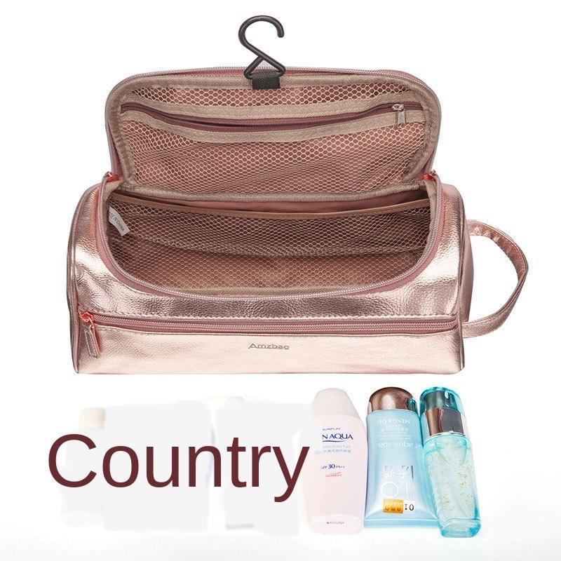 Мужская Бизнес двойной слой кожи мыть Корейский моды женщин розового золота Cosmetic косметический тестоотсадочные мешок небольшой мешок