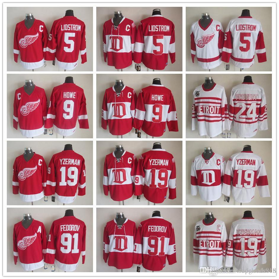 Deriots vintages ailes rouges 19 Steve Yzerman 9 Gordie Howe 5 nicklas lidstrom 24 Chris Chelios 91 chandails de hockey rouge blanc Sergei Fedorov