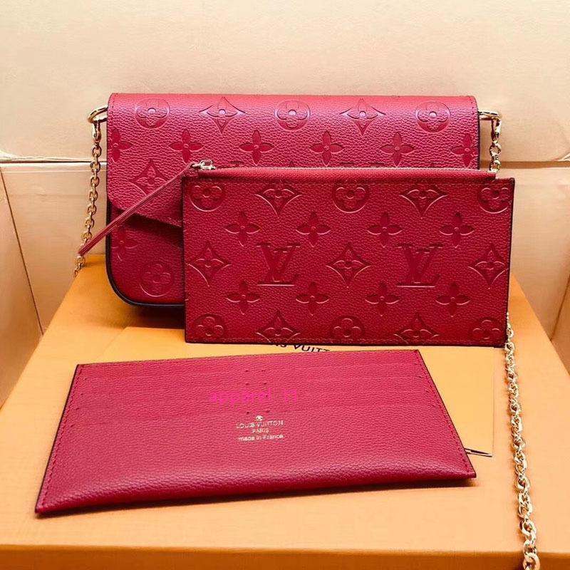 # 6874 Genuine Leather Pochette Félicie 3pcs L Marca V presbiti raccoglitore delle donne della catena di modo spalla Bag Holder Pochette mobile della carta della borsa