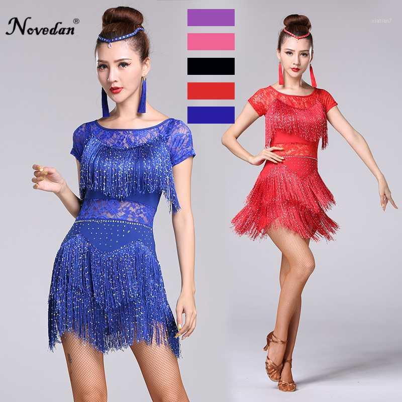 레드 라틴어 댄스 의상 여성 살사 댄스웨어 댄스 의상 드레스 볼룸 경쟁 드레스 탱고 성인 프린지 Sequin1