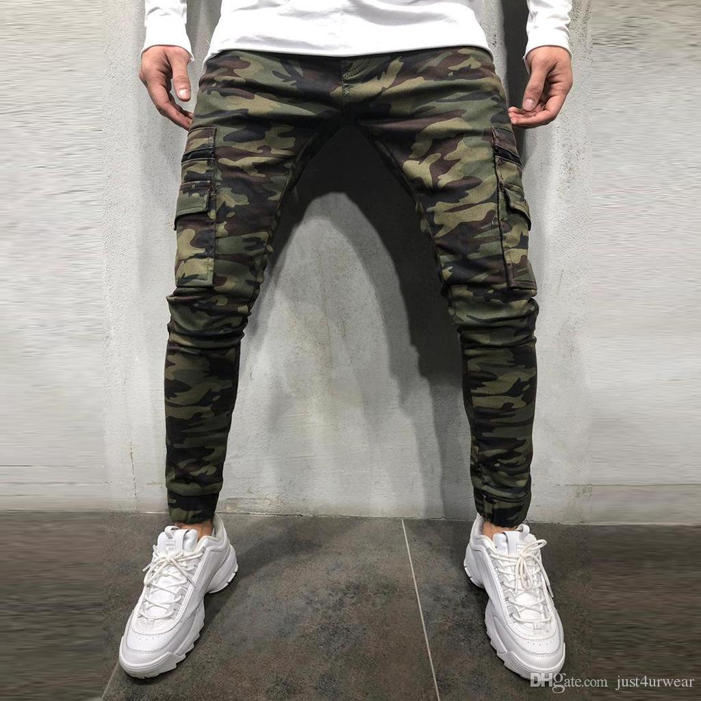 Erkek Kamuflaj Kalem Tasarımcı Kot Moda Büyük Cepler Fermuar Tasarım Erkekler Için Ince Jean Pantolon