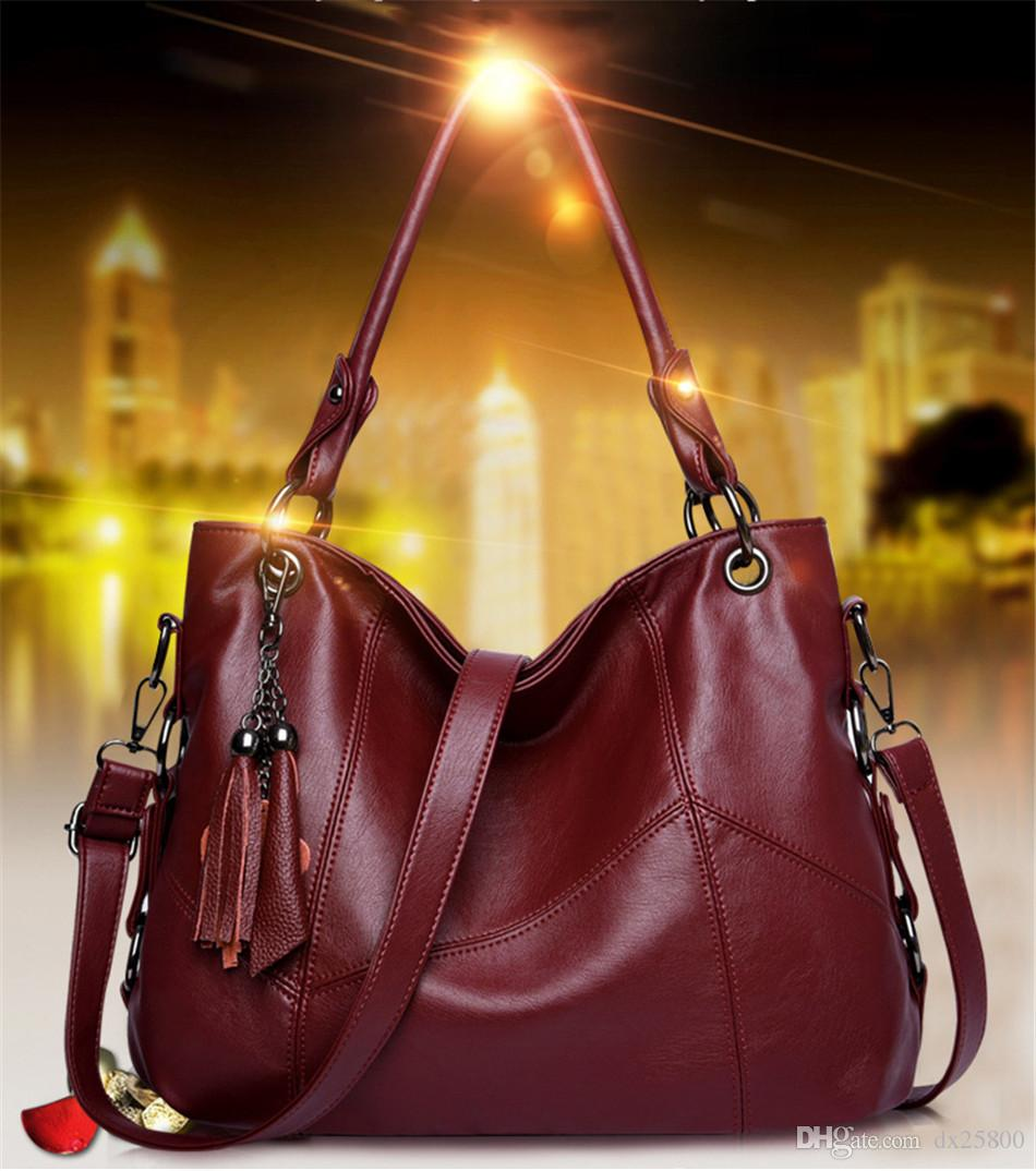 leather luggage tag bag Genuine Leather Tassel Handbags Women Bags Handbags High Quality Ladies Crossbody Hand Tote Bags For Women 2019