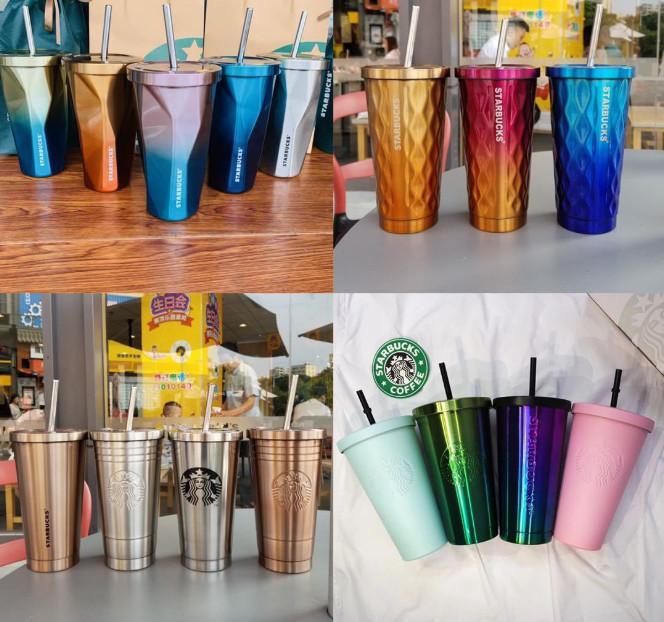 2021 Dernière tasse de la tasse de paille de café en acier inoxydable Starbucks Starbucks, 20 gobelets de voitures de couleur de gradient, support personnalisé