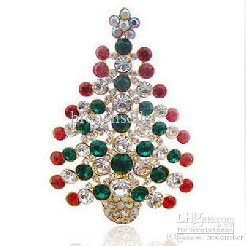 Oro plateado multicolor Rhinestone cristalino árbol de navidad Pin broche