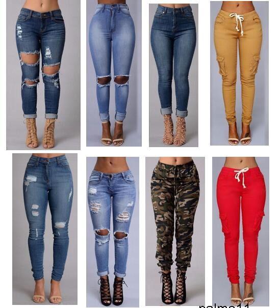 sexy mode nouvelles femmes de style des jeans taille haute longueur pleine Ripped Skinny Jeans pour femmes jeans pantalon slim 9KPZ