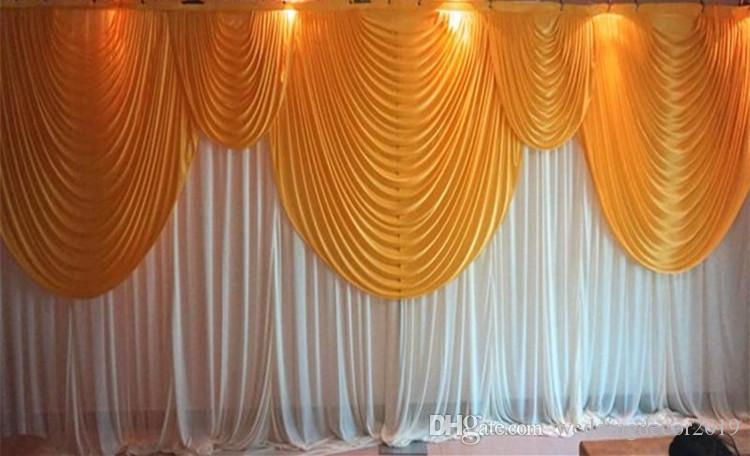 6m/20ft (w) x 3m/10ft (h) White Wedding backdrop curtain with gold swags wedding props wedding background veil 106