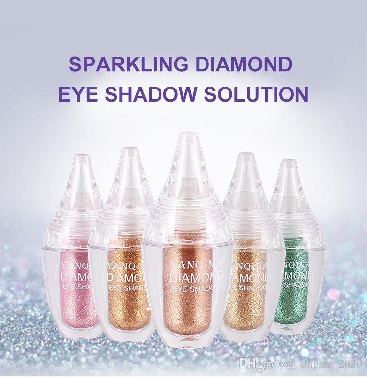 쉬머 아이 섀도우 빛나는 눈 메이크업을 지속 DHL / UPS 새로운 YANQINA 다이아몬드 액체 글리터 아이 섀도우 빛나는 방수 긴.