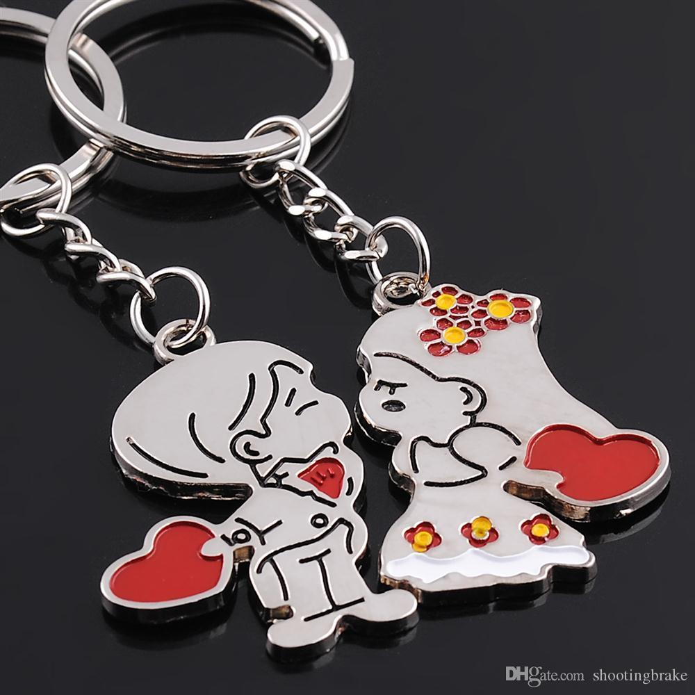 FREE SHIPPING BY DHL 200pairs/lot 2015 New Zinc Alloy Boy and Girl Wedding Keychains Novelty Keyrings for Lovers 20170708#