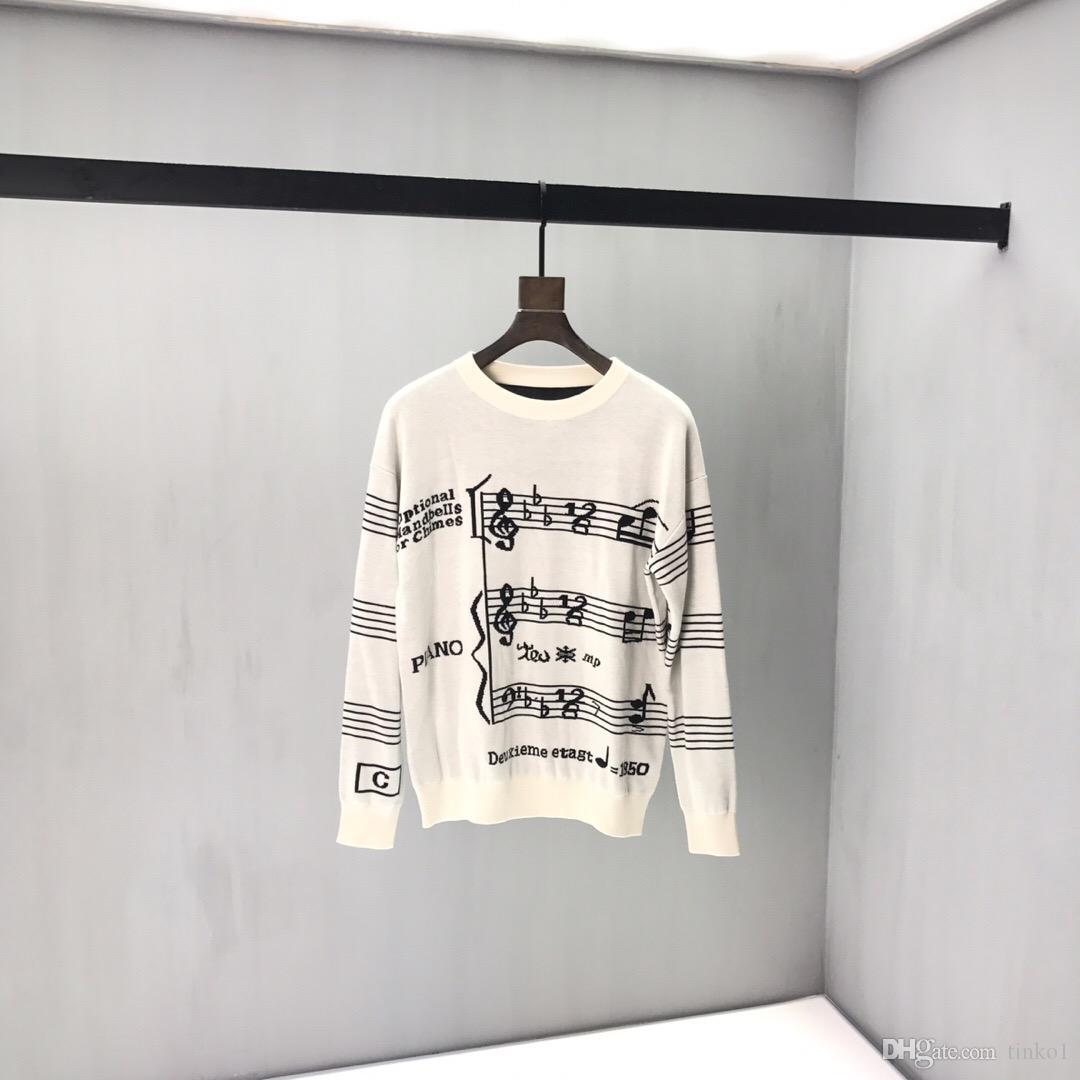 Зимний теплый свитер мужской водолазки Музыкальные ноты. Дизайн Мужские свитера Slim Fit Пуловер Мужчины Трикотаж Мужской Повседневный Тонкий пуловер