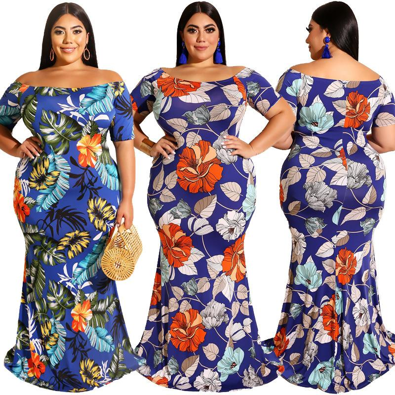 Womens Party Summer Dress corto digitale manica Stampa Off-the spalla sexy Slash collare aderente Bag Hip Dress Plus Size