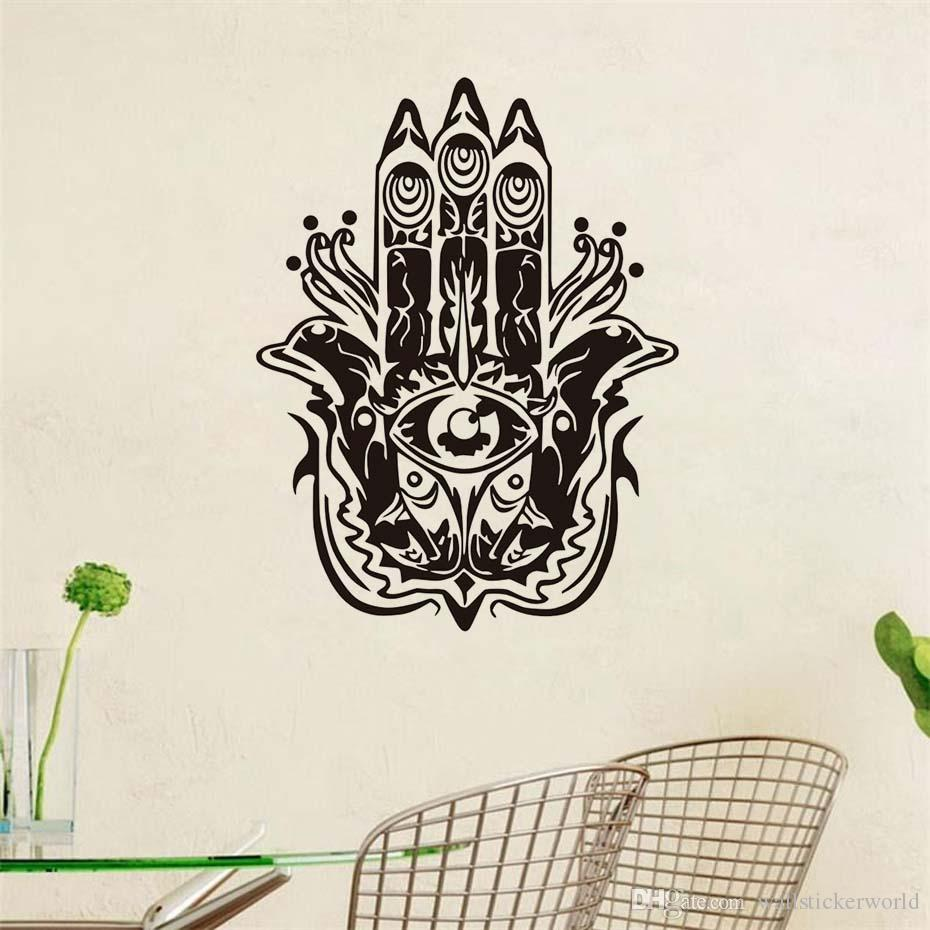 1 pcs mandalas fatima hand wall stickers home decorations vinyl yoga room bedroom decor yoga wall decals fish hamsa removable