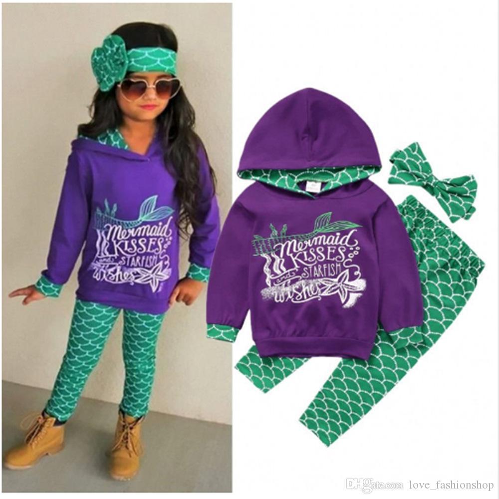 crianças de varejo do desenhador fatos de treino meninas sereia 3pcs encapuzados roupas set hoodies + pant + arco vestuário cocar crianças roupas boutique