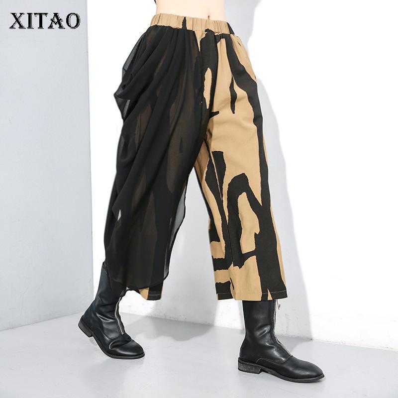 Xitao Patchwork Mesh-Personality-breite Bein-Hosen-Frauen 2019 Winter-beiläufige Art und Weise elastische Taillen-Druck-Knöchel-Längen-Hose XJ2897 T200606