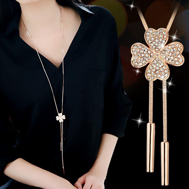 Kore moda vahşi tam elmas çiçek kazak zincir basit uzun kolye kadın giysileri pendant711 saçaklı