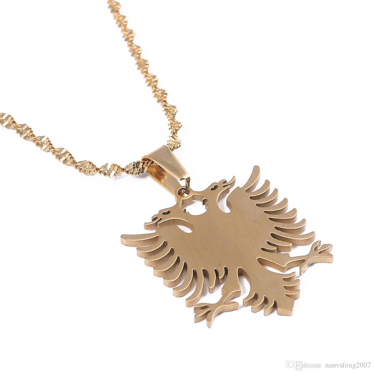 Albanien Adler Anhänger Halsketten Gold Farbe Edelstahl Ethnische Trendy Schmuck Geschenke