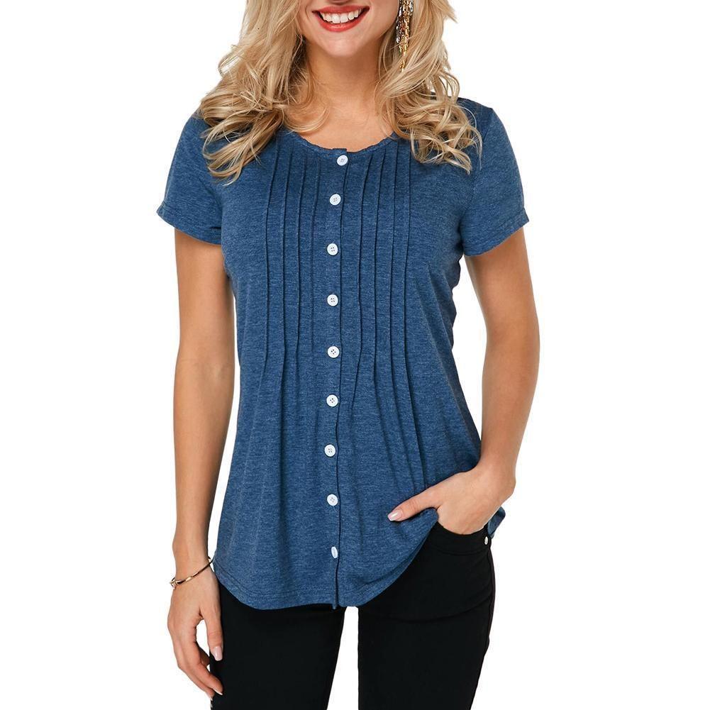 Donne di modo camicia Solid pulsante superiore a maniche arruffato Pullover tunica Tee Shirt Femme Plus Size camice donne di estate