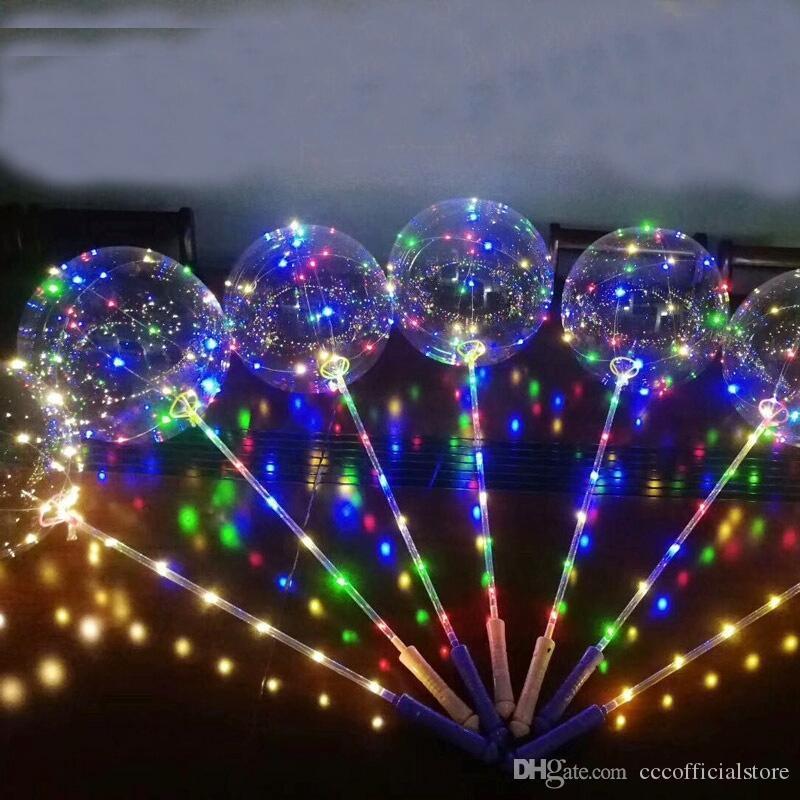 Круглая форма Светящийся Led Бобо шар гелием Transparent Ballon День рождения Свадьба украшения светодиодные Globos
