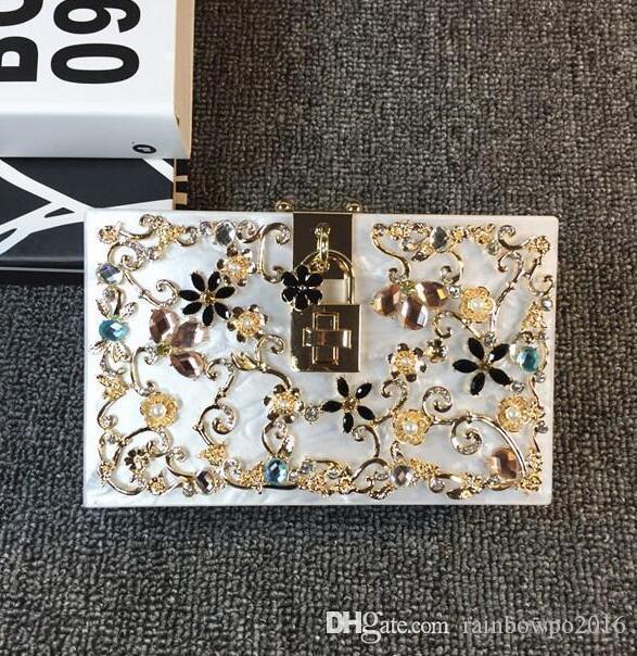 Fabrika Satış Çanta Fabrika El Yapımı Nefis Elmas Bayanlar Çanta Oyma Akrilik Mini High-end Oyma Kadın Çanta Paketi