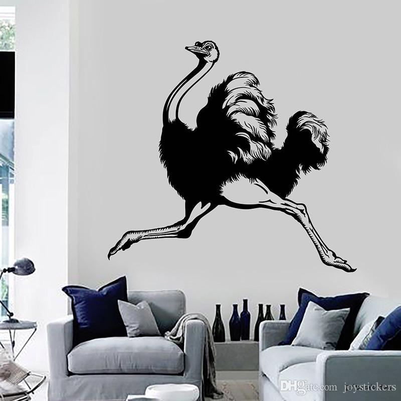 Ostrich Decalques animais Quarto Adesivo Decoração Murais Pássaro bonito adesivo removível Art Mural decoração Home