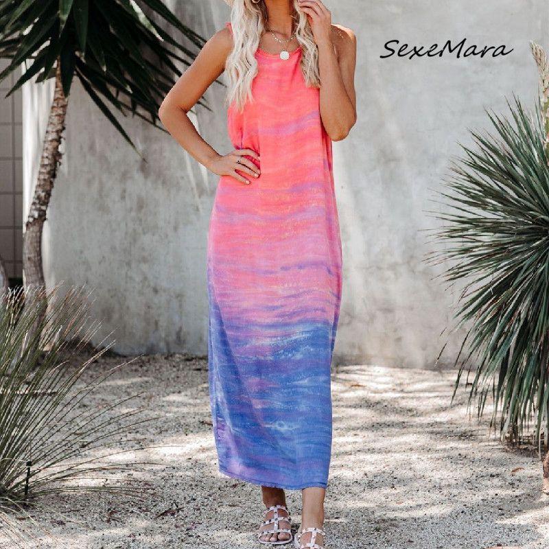 New Arrival Summer Print Women Long Nightgown Fashion Casual 2020 Sleeveless Loose Sleepwear