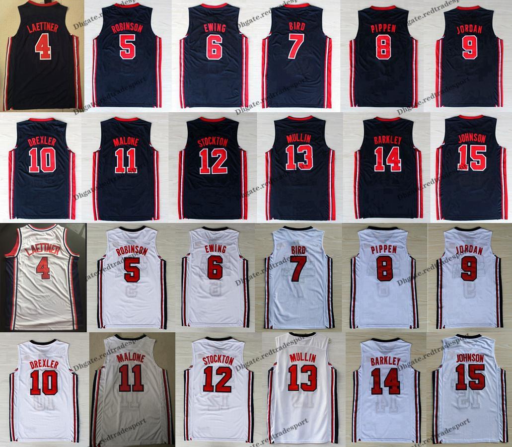 1992 équipe One Dream Men Larry Bird Michael J Ewing Pippen Mullin Robinson Drexler Laettner Stockton Malone Johnson Barkley Basketball Jersey