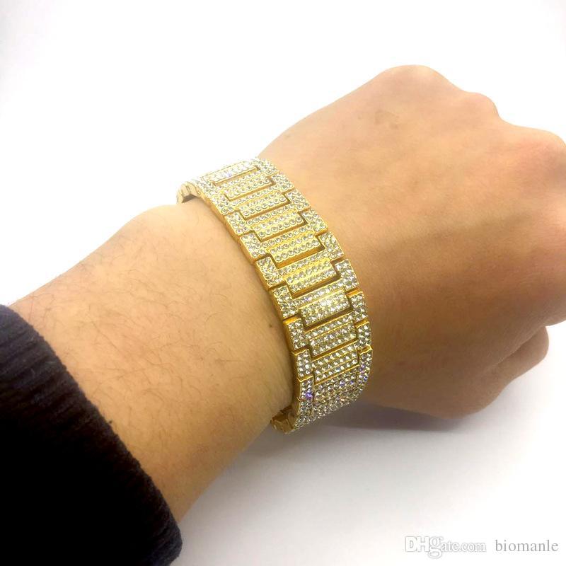 New Hip Hop Bracelets Rock Style Silver Gold Bracelets Jewelry Fashion Iced Out Miami Cuban Link Chain Bracelet For Men
