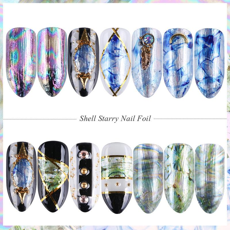 Chiodo Laser Shell Star Paper 5 Symphony Net Red Nail Sticker Set di carte Star