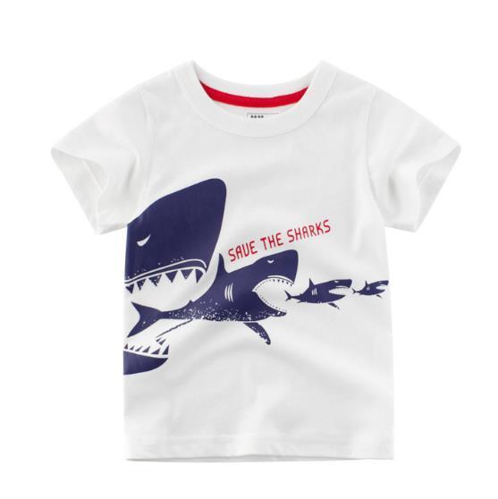 kısa kollu tişört çocuk moda karton elbise 2020 toptan çocuk sıcak satış çocuk yaz gömlek bebek pamuk O-boyun üst