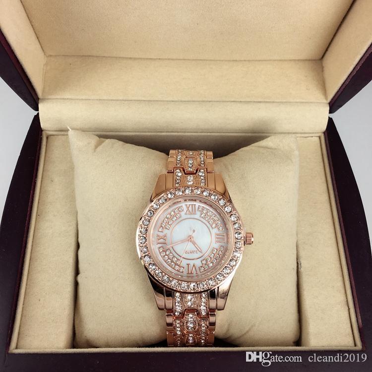 donne di lusso di modo guardano con diamanti in oro rosa / oro acciaio inossidabile signora orologi bracciale da polso marca libera di trasporto orologio femminile